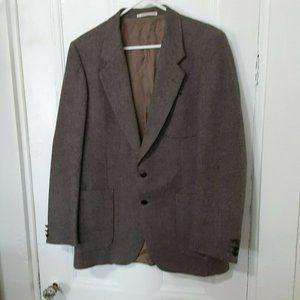 YSL Yves St Laurent 40R brown wool tweed blazer